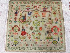 A Beautiful 19th Century French Sampler Stitched By Marie Marques Aged 12 & Dated 1883 ~ eBay