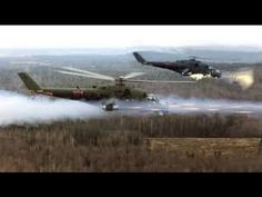Russian MI-24 Helicopters firing on ISIS in Hama Province, Syria