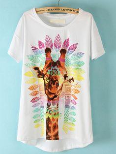 White Short Sleeve Giraffe Print T-Shirt @Faith Martin grly all it needs are shades.