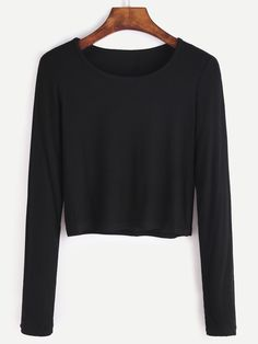 Shop Black Long Sleeve Crop T-shirt online. SheIn offers Black Long Sleeve Crop T-shirt & more to fit your fashionable needs.