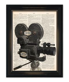 Vintage Movie Camera dictionary art print. Great home theatre decor.Old movie camera & reel on vintage book page-8x10.5 in. $10 Buy 3 get 1free...