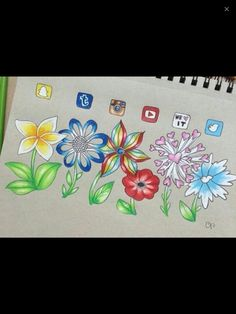 Kytky Amazing Drawings, Colorful Drawings, Cute Drawings, App Drawings, Tumblr Drawings, Social Media Art, Apps, Drawing Projects, Art Pictures