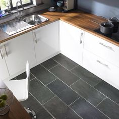 Outstanding Gray Kitchen Flooring Frieze Gray Kitchen Flooring Minimalist Grey Kitchen Floor Tile In Simple Kitchen With White Slate Floor Kitchen, Modern Grey Kitchen, Grey Floor Tiles, Black Kitchens, Kitchen Tiles, Kitchen Flooring, Cool Kitchens, Kitchen White, Slate Tiles