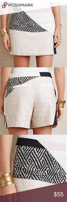Sophisticated Skort Anthropologie Elevens mixed fabric skort. Side slant pockets and back welt pockets. Side zip. Inseam is 5 1/4 inches. New With Tags. Anthropologie Shorts Skorts