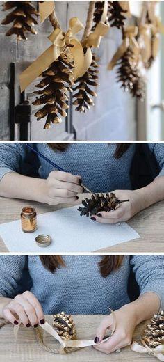 festive and fun pine cone crafts altered art christmas p Christmas Crafts For Kids, Crafts For Teens, Holiday Crafts, Christmas Holidays, Pinecone Garland, Ribbon Garland, Garlands, Pine Cone Decorations, Christmas Decorations