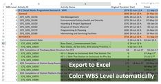 Primavera P6 export to Excel. How to color WBS level automatically