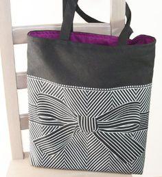 big bow tote bag black from soraam