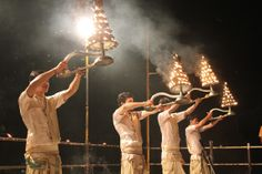 Priests performing Ganga Aarti, Varanasi, India #india #travel #Kamalan #culture #photo #Ganga Aarti #Ganges #Ganga #Varanasi #Benaras