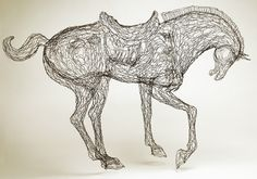 Tang Horse chinese asian year of the horse by wire art sculptor Elizabeth Berrien wire sculpture.