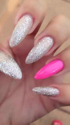 Long pink glitter stiletto nails