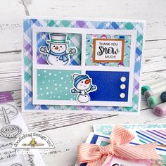 When Doodlebug launched Winter Wonderland, I was absolutely smitten! This collection has been on my crafty table for months now, and I have. Diy Cards, Your Cards, Snowman Cards, Alcohol Markers, Forest Friends, Winter Theme, Holidays And Events, Winter Wonderland, Thank You Cards