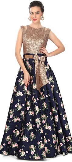 Navy blue gown features in sequin and floral print only on Kalki Pakistani Dresses, Indian Dresses, Indian Outfits, Jw Moda, Navy Blue Gown, Blue Bow, Indian Attire, Indian Designer Wear, Anarkali
