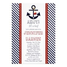 Anchor Nautical Baby Shower Invitations. Celebrate the arrival of a new baby boy or baby girl with this cute gender neutral nautical and beach themed baby shower invitation. It shows a navy blue anchor with a white star and red heart hanging from a yellow rope and diagonal blue and white stripe border with faux stitched red ribbon design on each side.