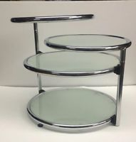 Midcentury Milo Baughman Style Chrome Plated Round 3 Tier Swivel Glass End Table Glass End Tables, Glass Table, Milo Baughman, Chrome Plating, Coffee Tables, Mid Century, Antiques, Modern, Silver