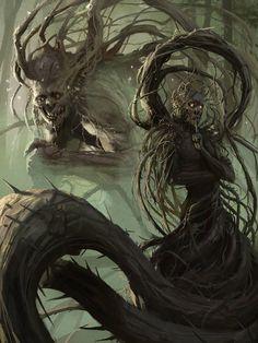 """cyrail: """"artissimo: """"the shrouded and the silencer by christof grobelski Sparrow Volume Kent Williams """" Featured on Cyrail: Inspiring artworks that make your day better """" Dark Fantasy Art, Fantasy Rpg, Fantasy Artwork, Fantasy World, Dark Art, Monster Art, Tree Monster, Arte Horror, Horror Art"""