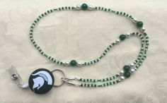Michigan State Spartans ID Badge Lanyard Green and White Beaded ID Badge Holder by TheLanyardNecklace on Etsy