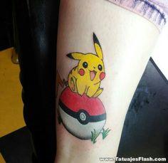Pikachu on pokeball Gamer Tattoos, Cute Tattoos, Tattoos For Guys, Tatoos, Awesome Tattoos, Pokeball Tattoo, Pikachu Tattoo, Fantasy Tattoos, Cross Tattoo For Men