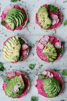 Pink Hummus and Avocado Rice Cakes | TWO SPOONS | Plant-based recipes worth sharing