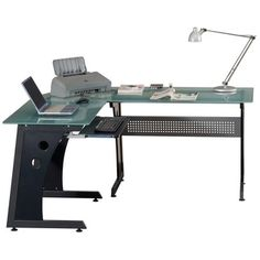 Loft-style Tempered Glass L-shaped Computer Desk | Overstock.com Shopping - The Best Deals on Desks