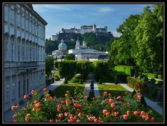 Mirabell Gardens with view of Hohensalzburg Castle - Salzburg, Austria (where the Sound of Music was filmed!)