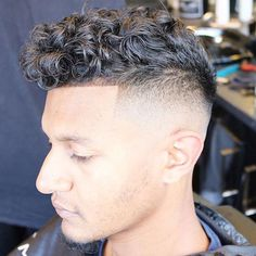 High Fade with Textured Curly Hair