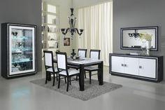 Ensemble salle à manger noir et blanc laqué avec décor strass