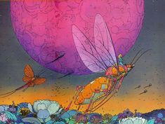 landscapes planets insects science fiction artwork traditional art moebius french artist 1024x770 Wallpaper