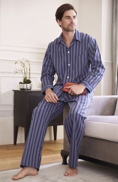 The Heritage pyjamas are a classic Bonsoir style in an assortment of colourful woven checks and stripes so you can choose your best look. Striped Pyjamas, Cotton Pyjamas, Pajamas, Mens Pjs, Mens Pyjamas, Mens Nightshirts, Mens Sleepwear, Men's Loungewear, Male Feet