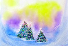Christmas Trees In The Valley - Alcohol Inks In Pastel