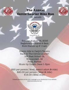 Cercle Laurier Annual Bike Run for Operation Stand Down RI. East School, Soldier Love, Disabled Veterans, Motorcycle Events, Stand Down, Bike Run, Charity, Motorcycles, Gaming