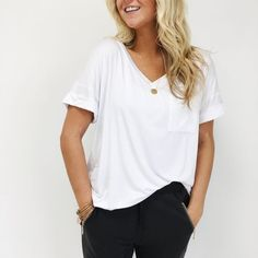 Classic Pocket Tee in White   ROOLEE