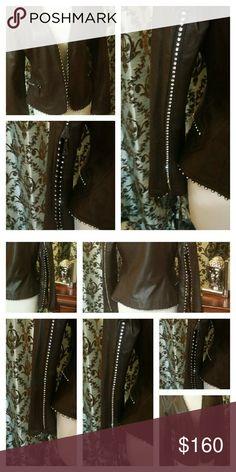 Brown Leather Diamond Studded Fashion Blazer Leather Diamond Studded Trim Fashion Blazer Jackets & Coats