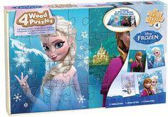 Disney Frozen Set of 4 Jigsaw Puzzles in a Wood Case.
