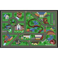 Style Selections�My Town Rectangular Green Accent Rug (Common: 3-ft x 5-ft; Actual: 39-in x 59-in)