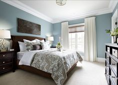 Benjamin Moore Buxton Blue Family Home with Sophisticated Interiors  Relaxing Bedroom Colors pretty blue color white crown molding Pinterest