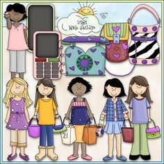 Clip Art and Digital Stamps Download with 11 Color Images and 11 Black and White Images with a white fill (as shown in the preview).  All images are high quality 300 dpi for beautiful printing results.Formats: transparent PNG and non-transparent JPGIncludes: 5 teenagers / teens / tweens with various accessories such as shopping bags, purses or a cell phone, 1 plain teenager, 2 purses, 1 telephone, 2 cell phones / smart phones.Leah Rae (Digi Web Studio) is a licensed reseller of this original…