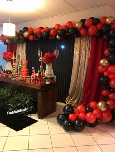 Hollywood Birthday Parties, Red Birthday Party, Gold Birthday Cake, 50th Birthday Party, Birthday Ideas, Red Party Themes, Black And Gold Party Decorations, Girls Dinner Parties, Power Ranger Birthday