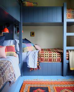 Welsh Blanket, Kitchen And Bath Design, Kid Spaces, Girls Bedroom, Bedrooms, Bedroom Ideas, Bunk Beds, Living Area, New England