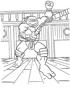 Ninja Turtle Wear Chains Coloring Page