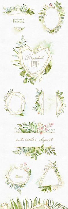 Kristall-Blätter. Rahmen. Aquarell Blumen & polygonalen