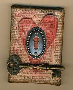 ATC sized canvas--great idea for tim holtz keys and locks