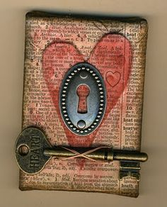 ATC sized canvas--great idea for tim holtz keys and locks