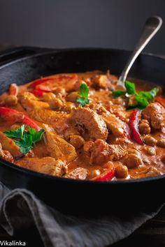 This simplified version of chicken paprikash is made leaner by using chicken breasts and chickpeas so you can enjoy the creamy goodness without the guilt! - substitute coconut flour and Greek yogurt Bulgarian Recipes, Indian Food Recipes, Bulgarian Food, Croation Recipes, Best Beef Stroganoff, Chicken Chickpea, Chicken Paprikash, Cooking Recipes, Healthy Recipes