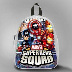 Marvel Superhero squad Ironman And Captain America, School Bag Kids, Large Size, Medium Size, Small Size, Red, White, Deep Sky Blue, Black, Light Salmon Color