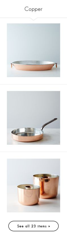 """""""Copper"""" by food52 ❤ liked on Polyvore featuring home, kitchen & dining, cookware, copper cookware, copper gratin pan, serveware, copper pot, kitchen gadgets & tools, copper cookie cutters and flatware"""