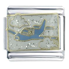 Italian Charms - blue jet italian charms bracelet link x2 italian charm Image.