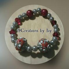 Red & Grey Acrylic Bead Bracelet