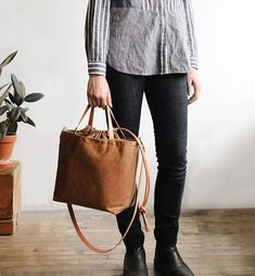 """a1b04f3f9cfea arounna on Instagram  """"I made the new project tote in rust waxed canvas"""