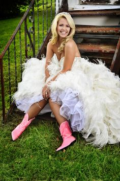 Pink cowgirl boots give this bride a glam country style >> http://www.greatamericancountry.com/living/lifestyles/country-weddings-brides-in-boots-pictures?soc=pinterest Wedding Boots, Cowgirl Wedding, Wedding Bride, Frilly Dresses, Flower Girl Dresses, Formal Dresses, Prom Dresses, Pink Cowgirl Boots, Pink Boots