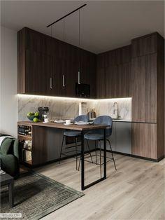 Loft Kitchen, Apartment Kitchen, Home Decor Kitchen, Kitchen Interior, Home Kitchens, Apartment Living, Apartment Ideas, Living Room, Apartment Checklist